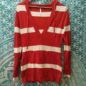 Rue21 Red Striped Longsleeve Hooded Sweater Large